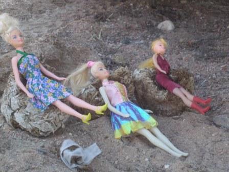 Når man er på camping i bushen må man leke med det man finner. Her har feks.jentene til Jaco funnet fine stoler av tørket elefant-droppings til barbiene sine....