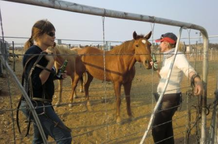 """Kristin og jeg tar en velfortjent øl etter en støvete og varm """"arbeidsdag"""". Hesten Oslo lurer på om det ikke drypper litt på han også...?"""
