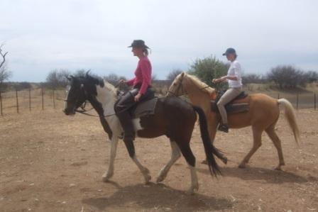 """Vi måtte ut og trene litt før vi skulle """"ri kuer"""". På runden red vi rett inn i villhest flokken, og eselet satan satte etter oss og skrøt av full hals... Vi fikk fart på hestene og takket være Anitas kraftfulle """"husj-husj"""" bendte eselet av og Anitas hest kunne løpe videre med skinkene i behold...."""